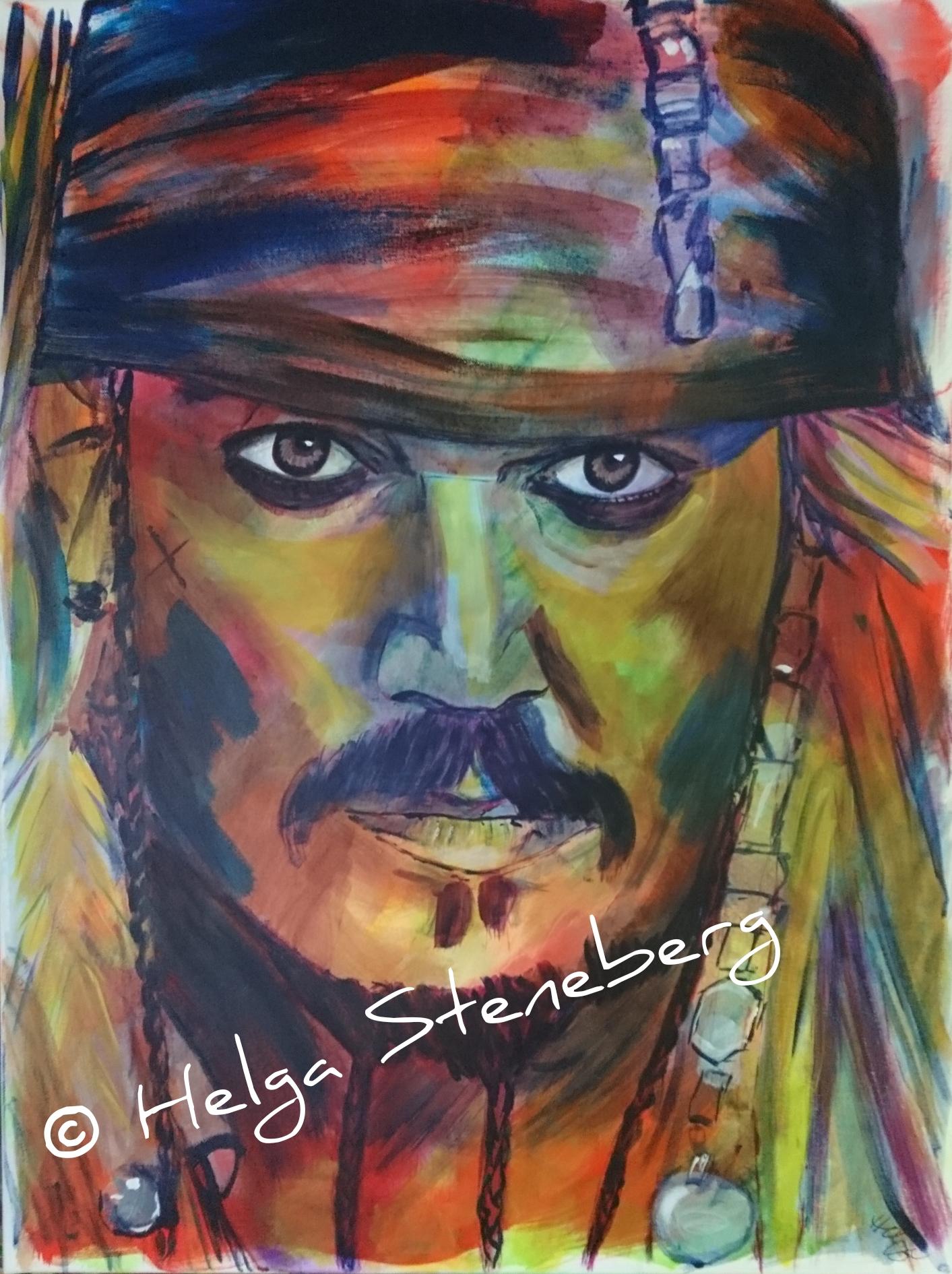 """Johnny Depp als Captain Jack Sparrow aus """"Fluch der Karibik"""", 80x60, LW"""