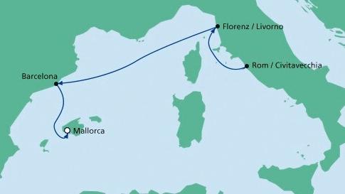 Die Route ab Civitavecchia bis Palma de Mallorca