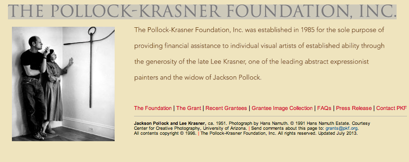 "Stipendium der ""Pollock-Krasner Foundation"", New York"