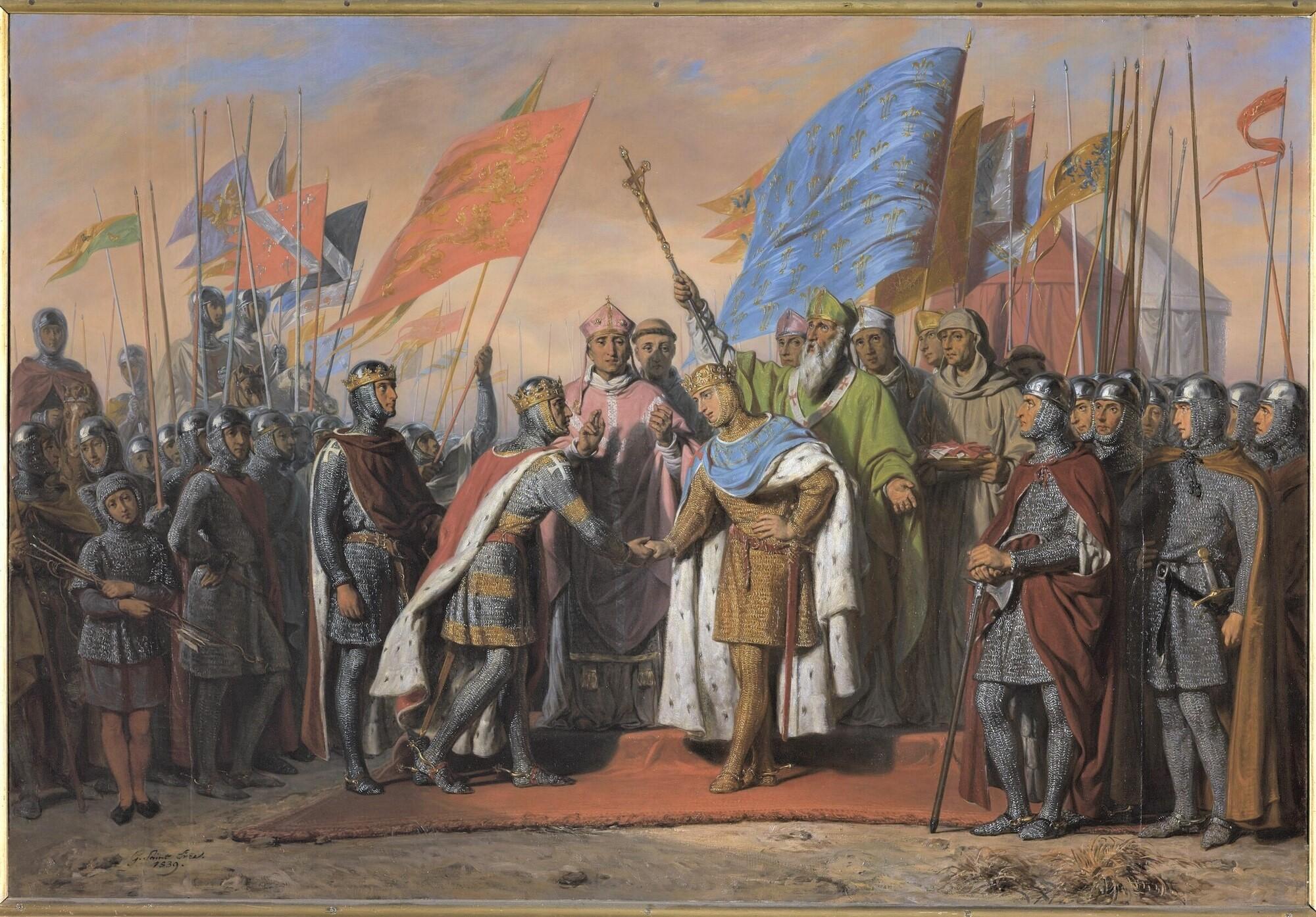 Entrevue de Philippe-Auguste avec Henri II à Gisors, 21 janvier 1188. Peintre : Gillot Saint-Evre.