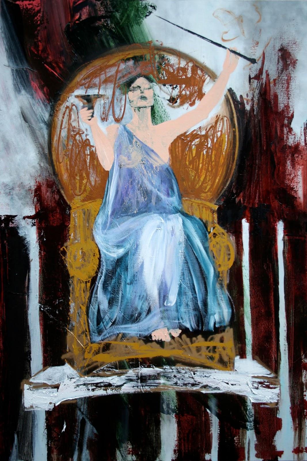 """Mystique Circé Acrylique et peinture aérosol sur toile 195 x 130 cm - (John William Waterhouse """"Circé offrant la coupe à Ulysse"""", 1891) © Éric Citerne"""