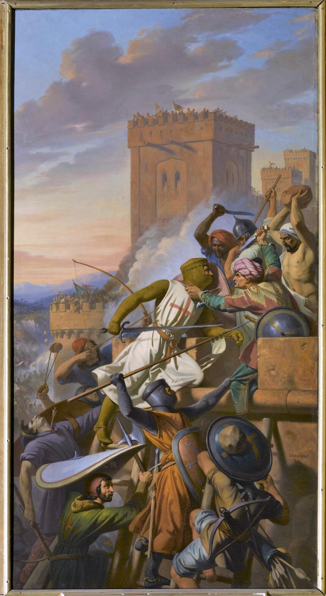 Prise de la forteresse de Ma'arat-Al Nurman (anciennement Marrah) dans la province d'Antioche, 1098. Peintre : Henri Decaisne.