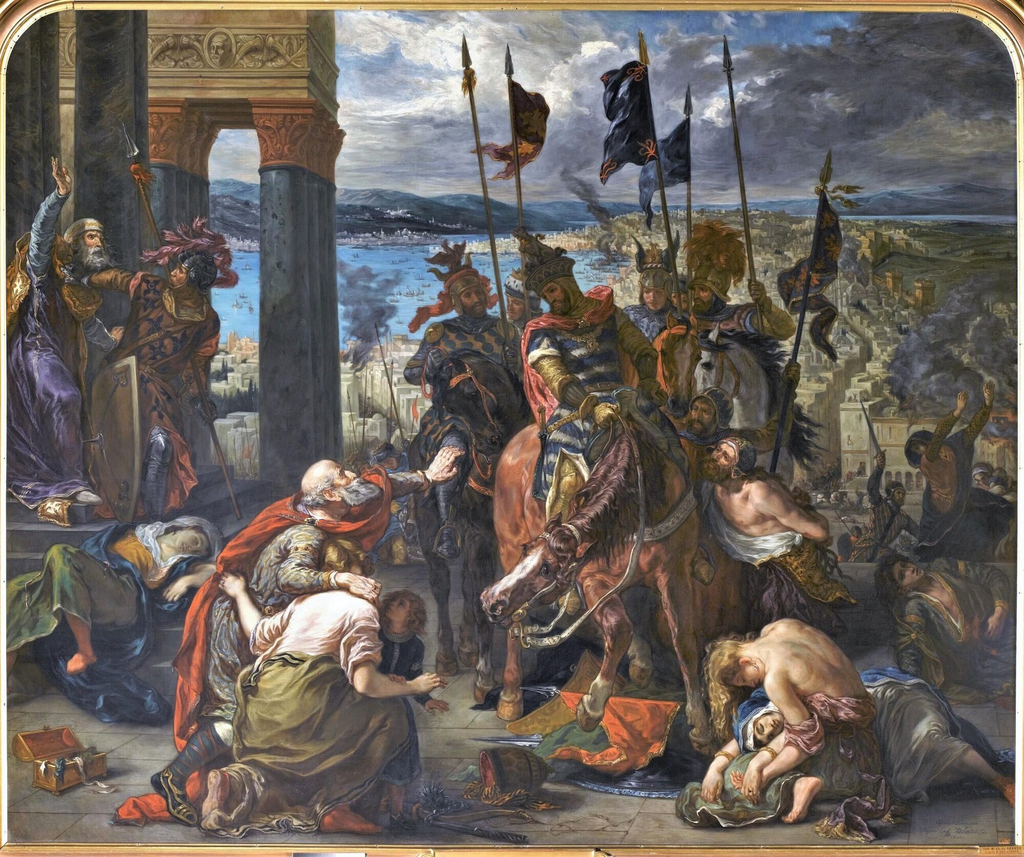 Entrée des Croisés à Constantinople, 12 avril 1204. Peintre : Henri-Charles de Serres, d'après Ferdinand-Victor-Eugène Delacroix.