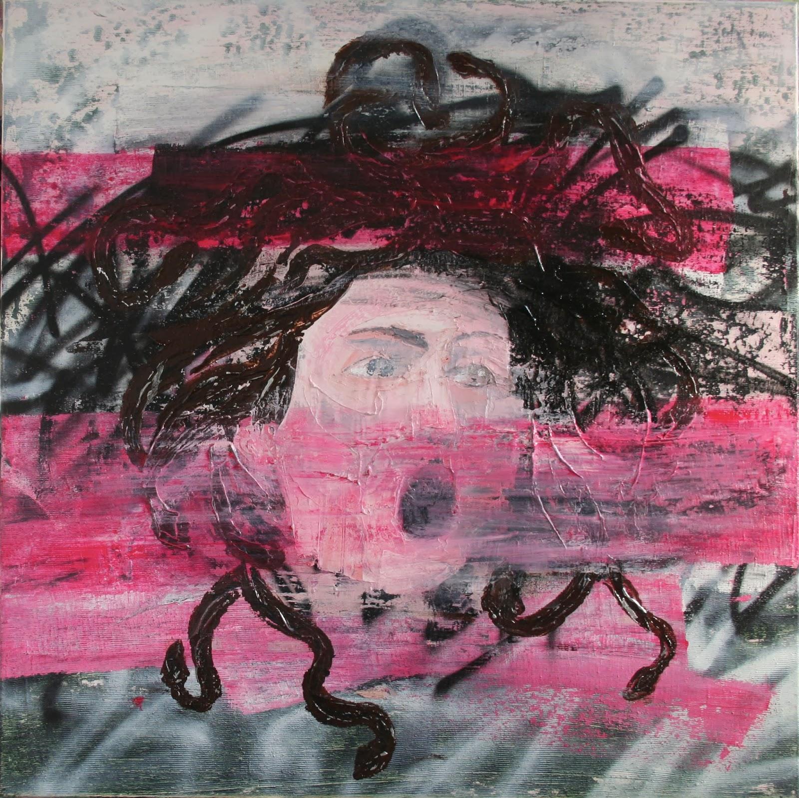"""Le cri de Méduse Peinture aérosol et acrylique sur toile 100 x 100 cm - (Le Caravage, """"Tête de Méduse"""") © Éric Citerne"""