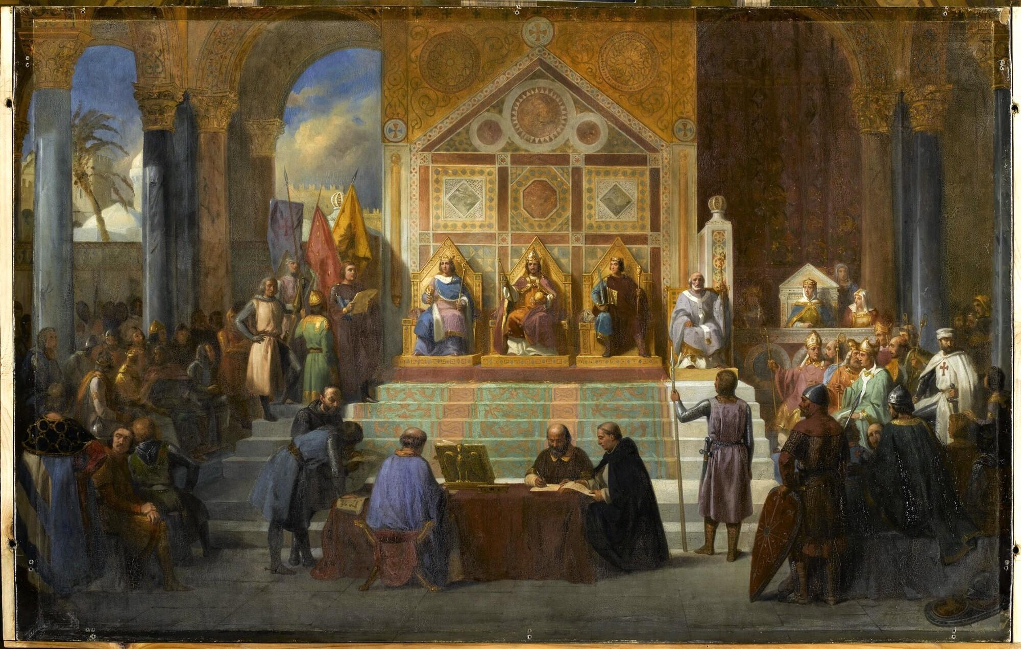 Assemblée des croisés à Ptolémaïs, 1148. Peintre : Alexandre Debacq.