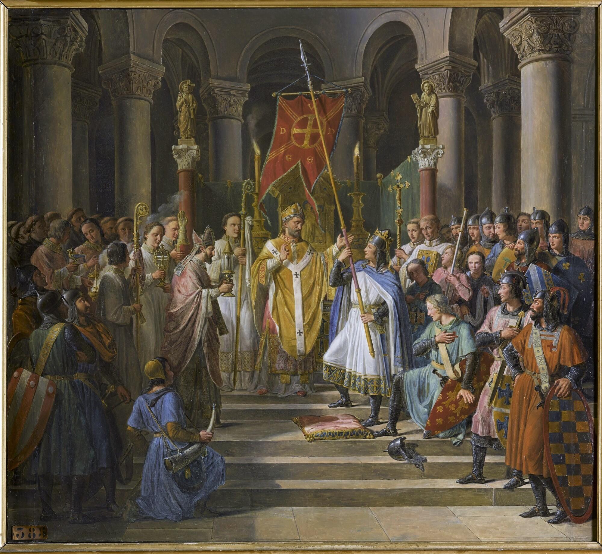 Philippe-Auguste prend l'oriflamme à Saint-Denis, 24 juin 1190. Peintre : Pierre-Henri Révoil.