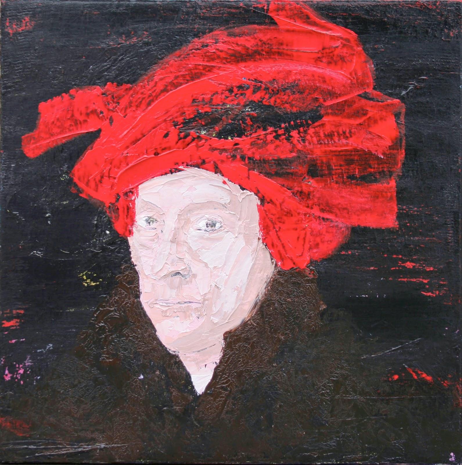 """L'homme au turban rouge Acrylique sur toile 100 x 100 cm - (d'aprés Jan Van Eyck, """"L'homme au turban rouge"""", 1433) © Éric Citerne"""