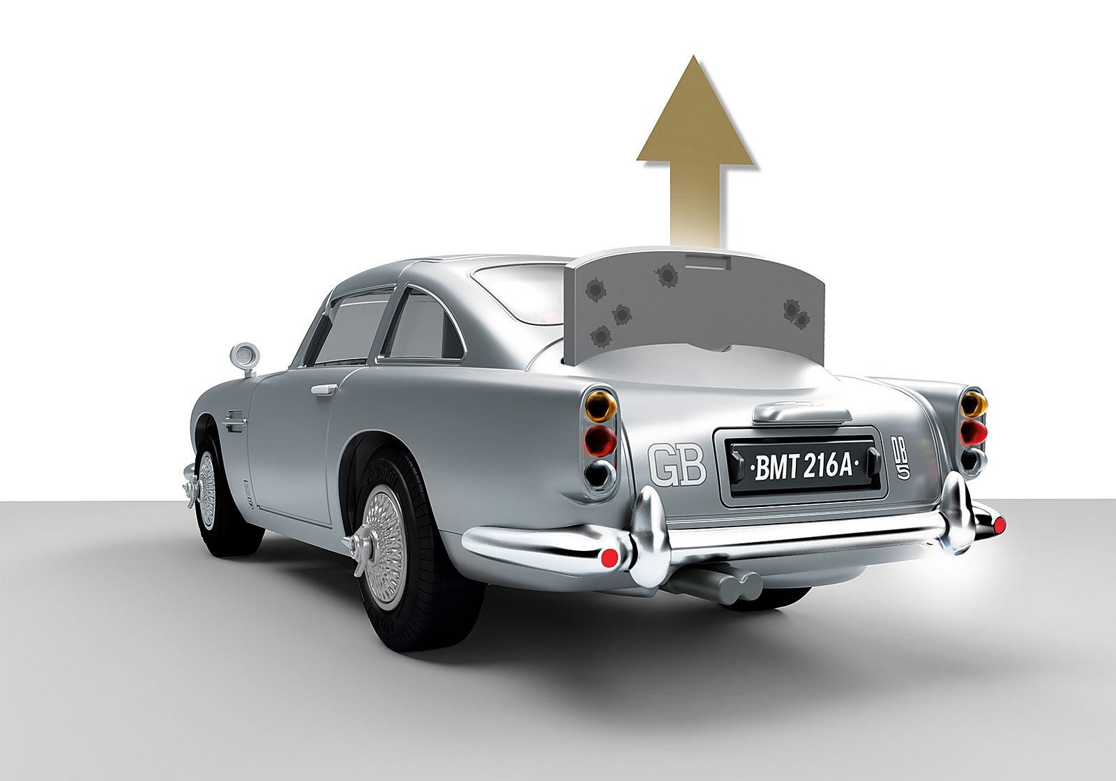 ASTON MARTIN DB5 JAMES BOND PLAYMOBIL – ÉDITION GOLDFINGER - Bouclier pare-balles à l'arrière du véhicule.