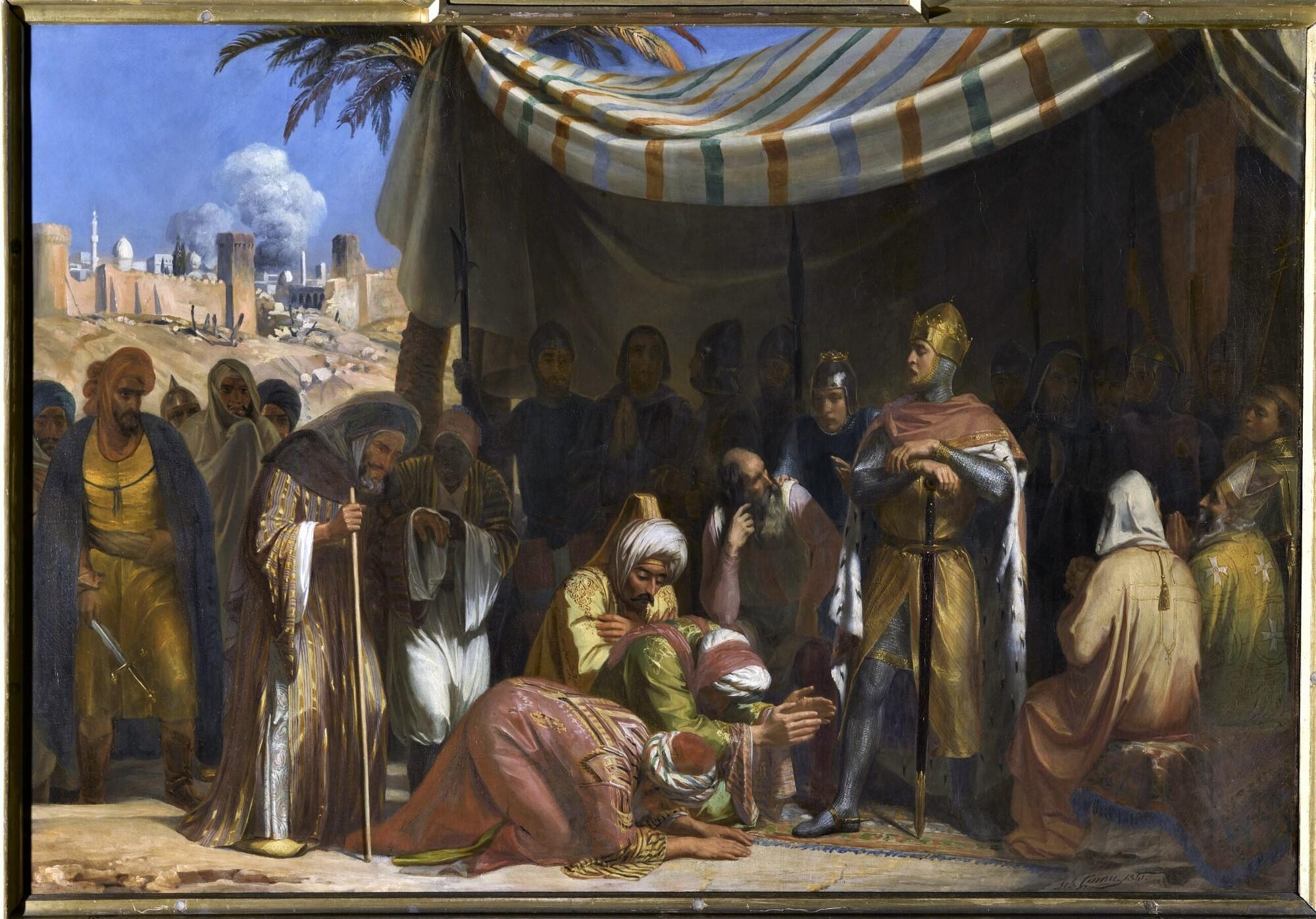 Prise d'Ascalon, 1152. Peintre : Sébastien-Melchior Cornu.