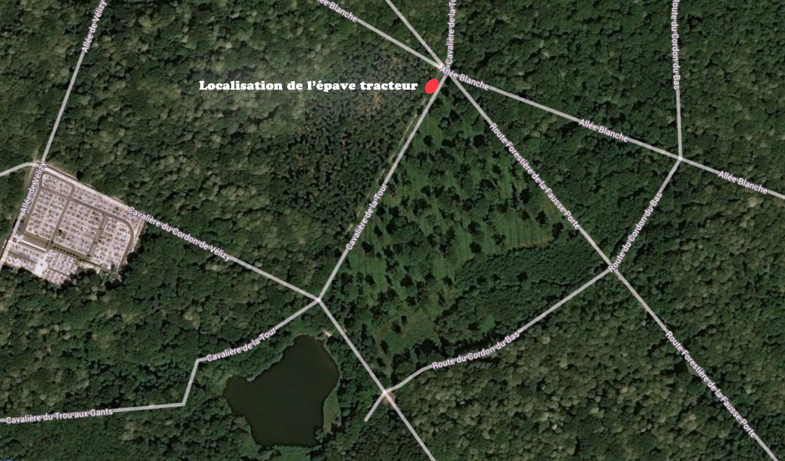 Localisation de l'épave de tracteur en forêt de meudon - Commune de Vélizy.