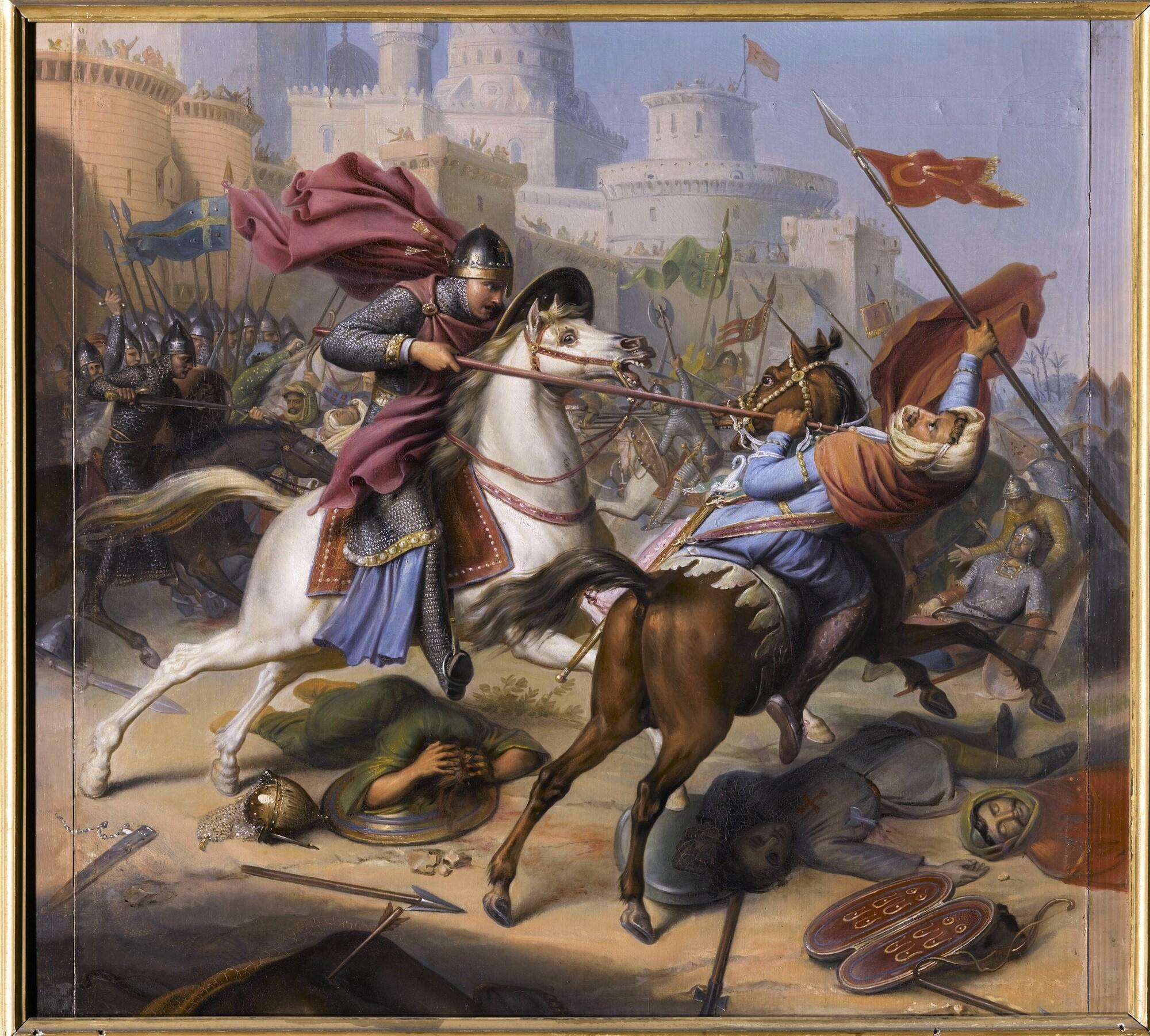 Combat de Robert, duc de Normandie, avec un guerrier sarrazin, 1098. Peintre : Jean-Joseph Dassy .