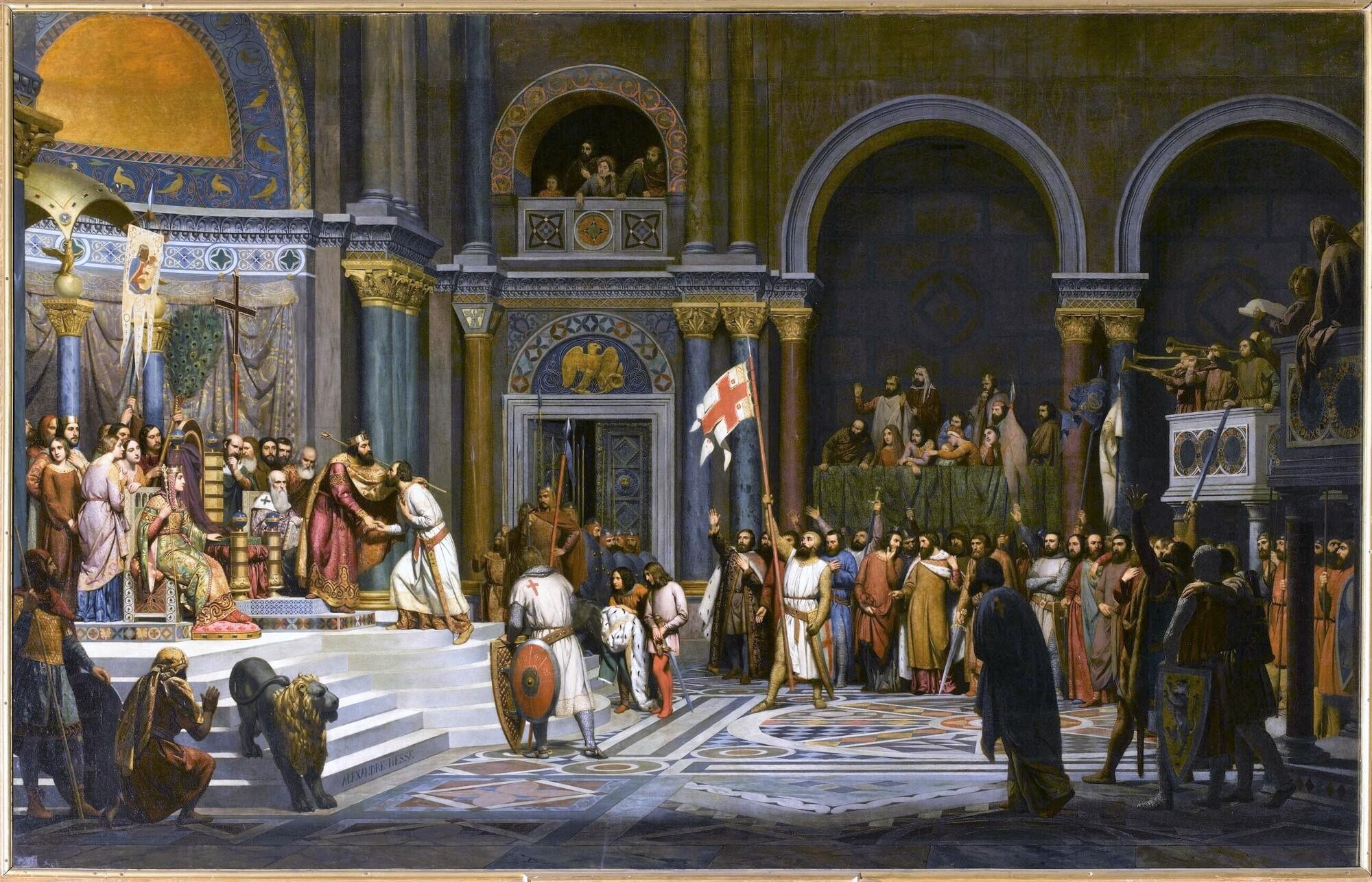 Adoption de Godefroy de Bouillon par Alexis Comnène, 1097. Peintre : Alexandre Hesse.