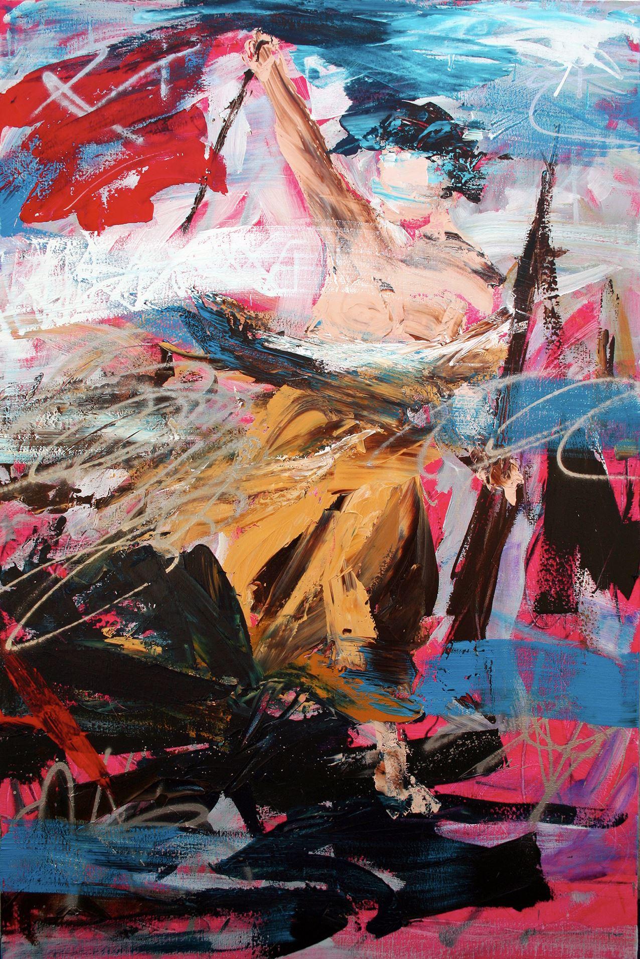 Spirit of Liberty  Peinture aérosol et acrylique sur toile 195 x 130 cm - (Eugène Delacroix, La Liberté guidant le peuple) © Éric Citerne