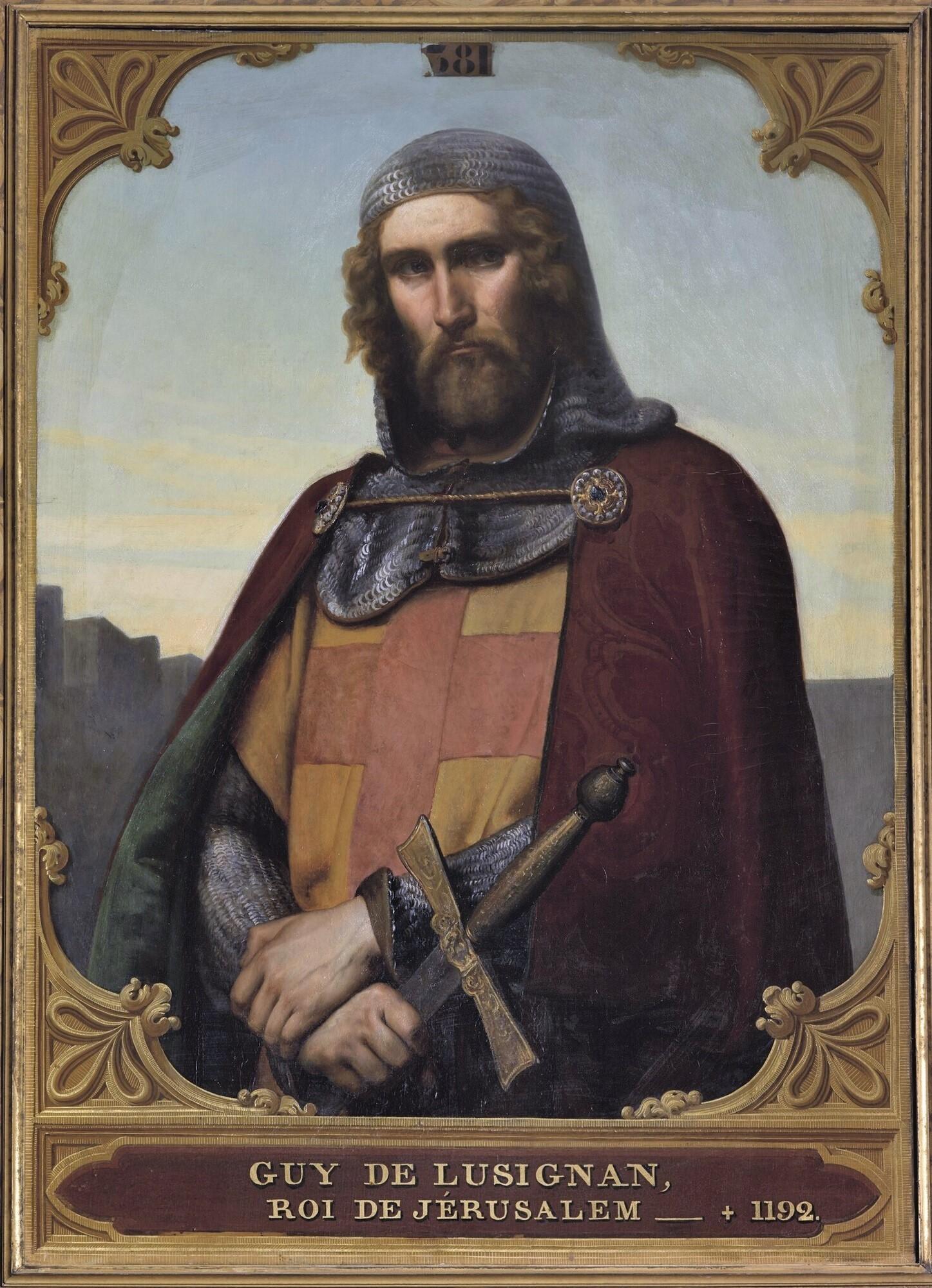 Guy de Lusignan, roi de Jérusalem et de Chypre (1129-1194). Peintre : François-Édouard Picot.