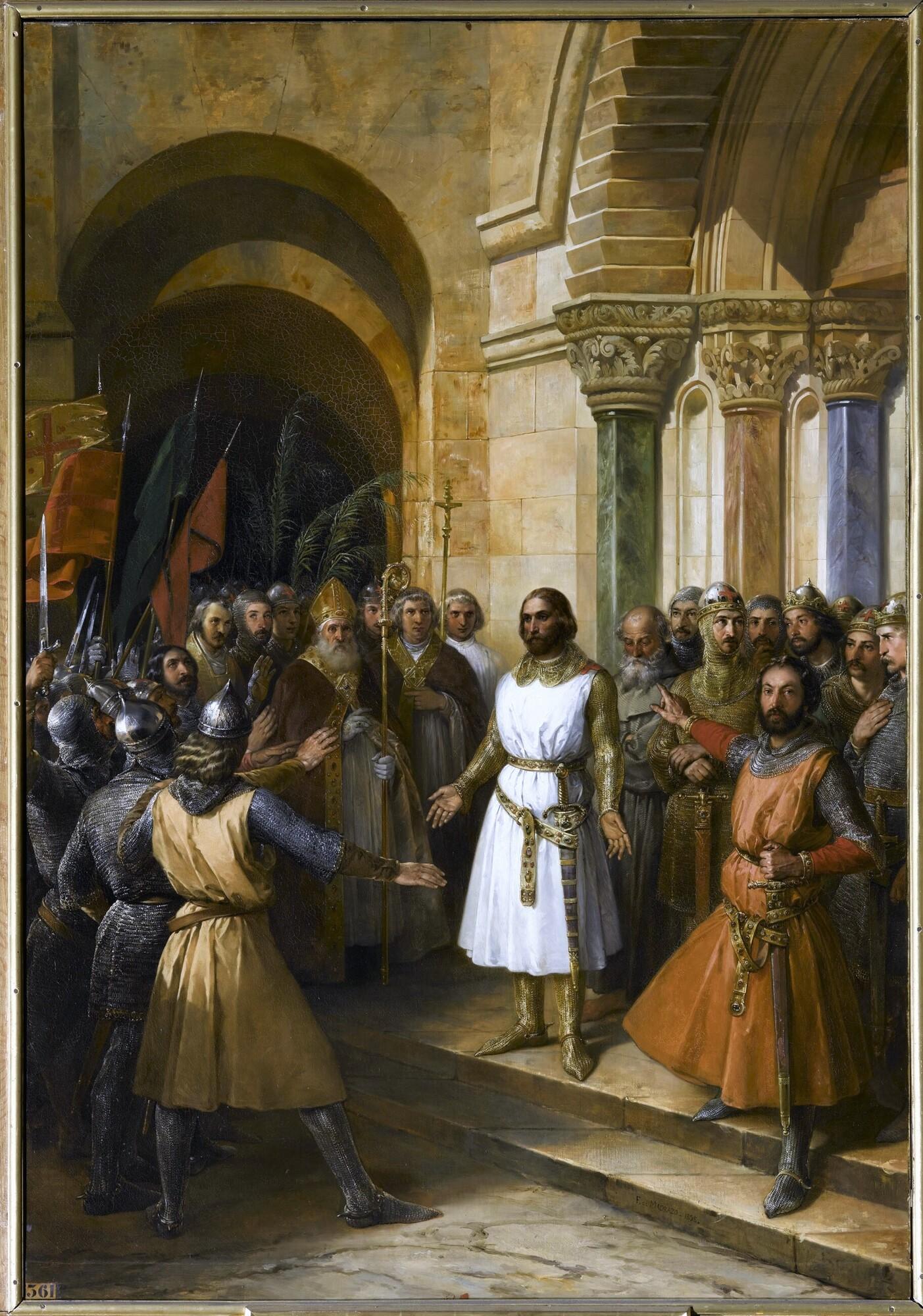 Godefroy de Bouillon élu roi de Jérusalem, 23 juillet 1099. Peintre : Federico de Madrazo y Kuntz .