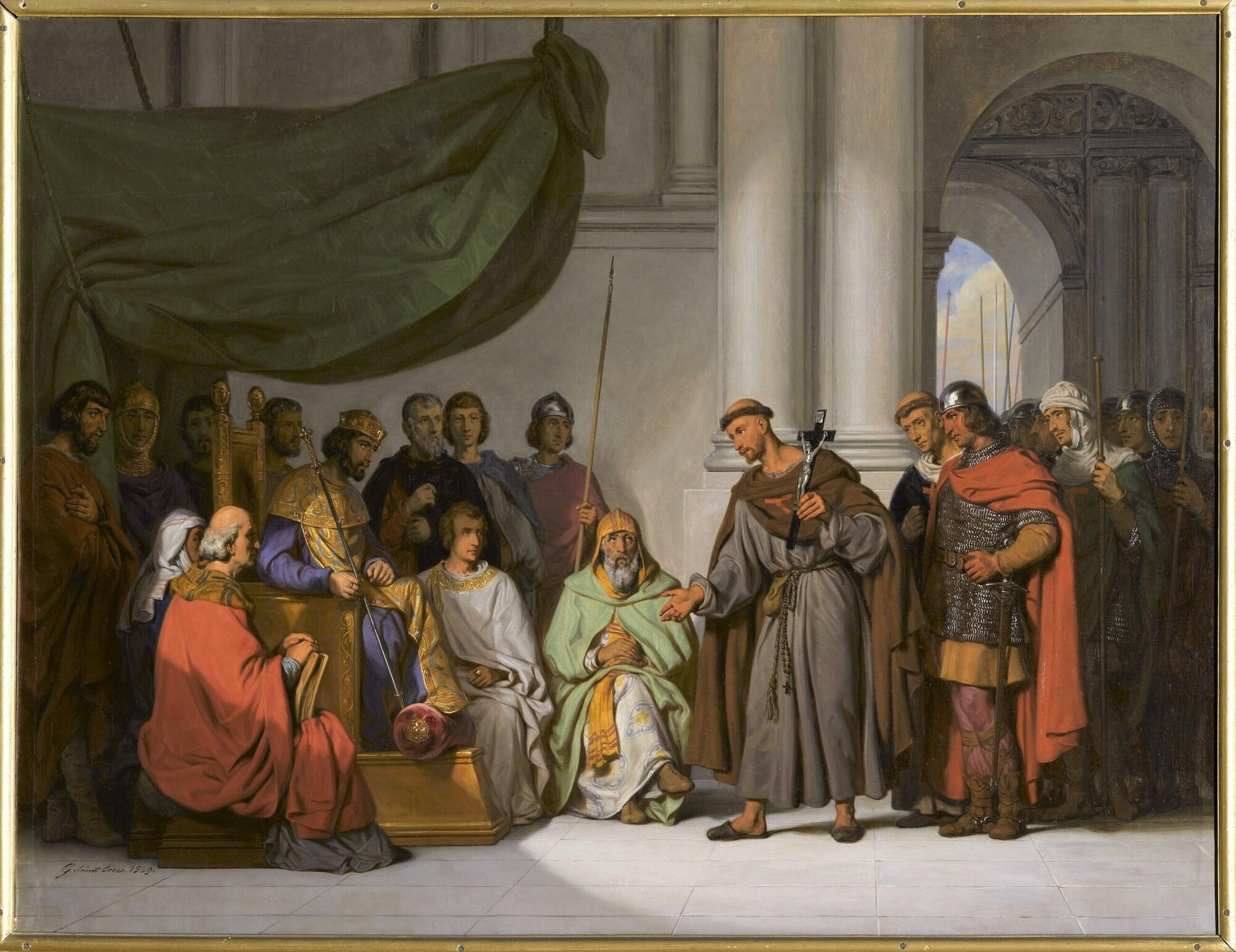 Alexis Comnène reçoit à Constantinople Pierre l'Ermite, 1096. Peintre : Gillot Saint-Evre .