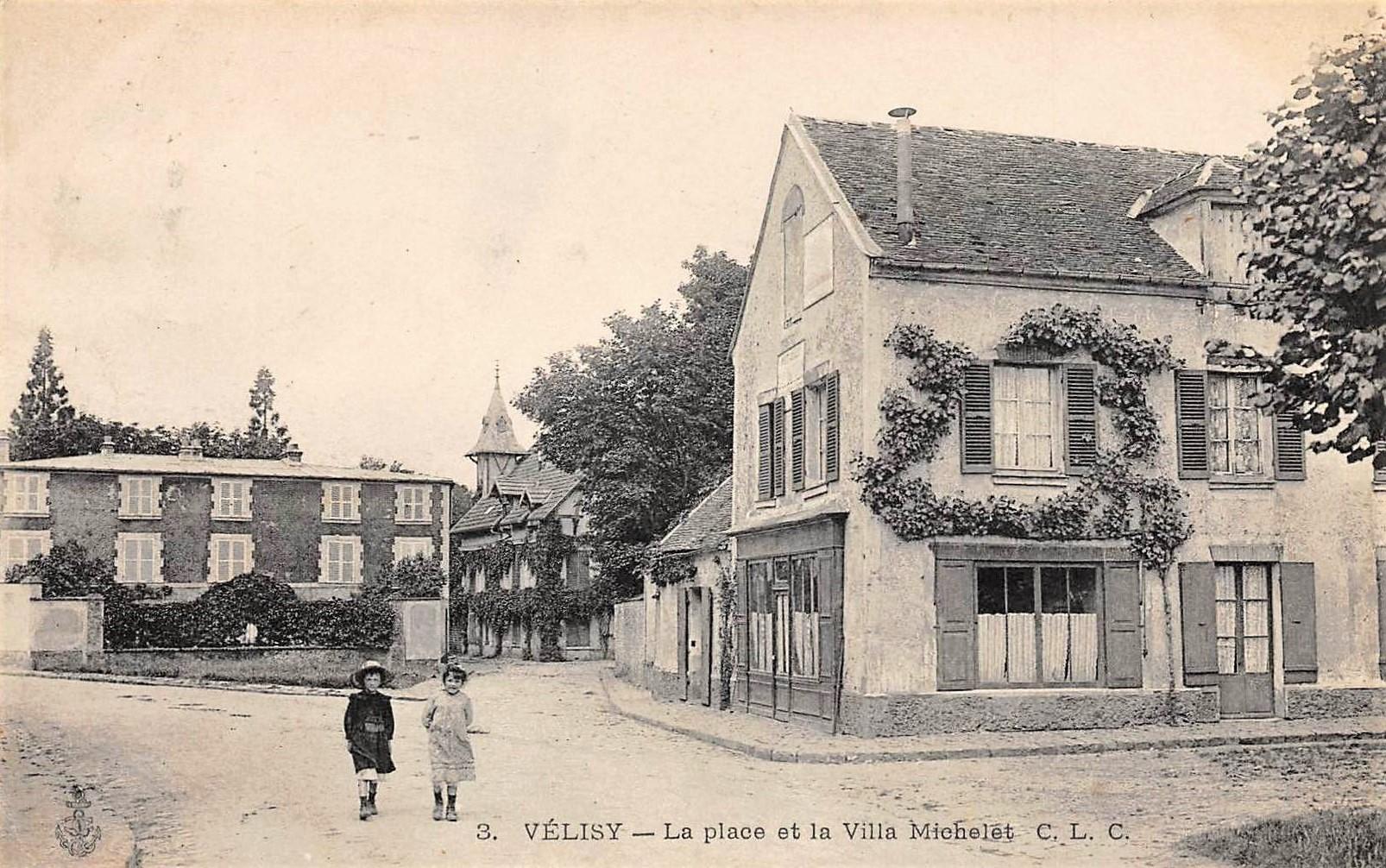 La Place du Village (aujourd'hui Place Émile Zola) et au fond la Villa Michelet.
