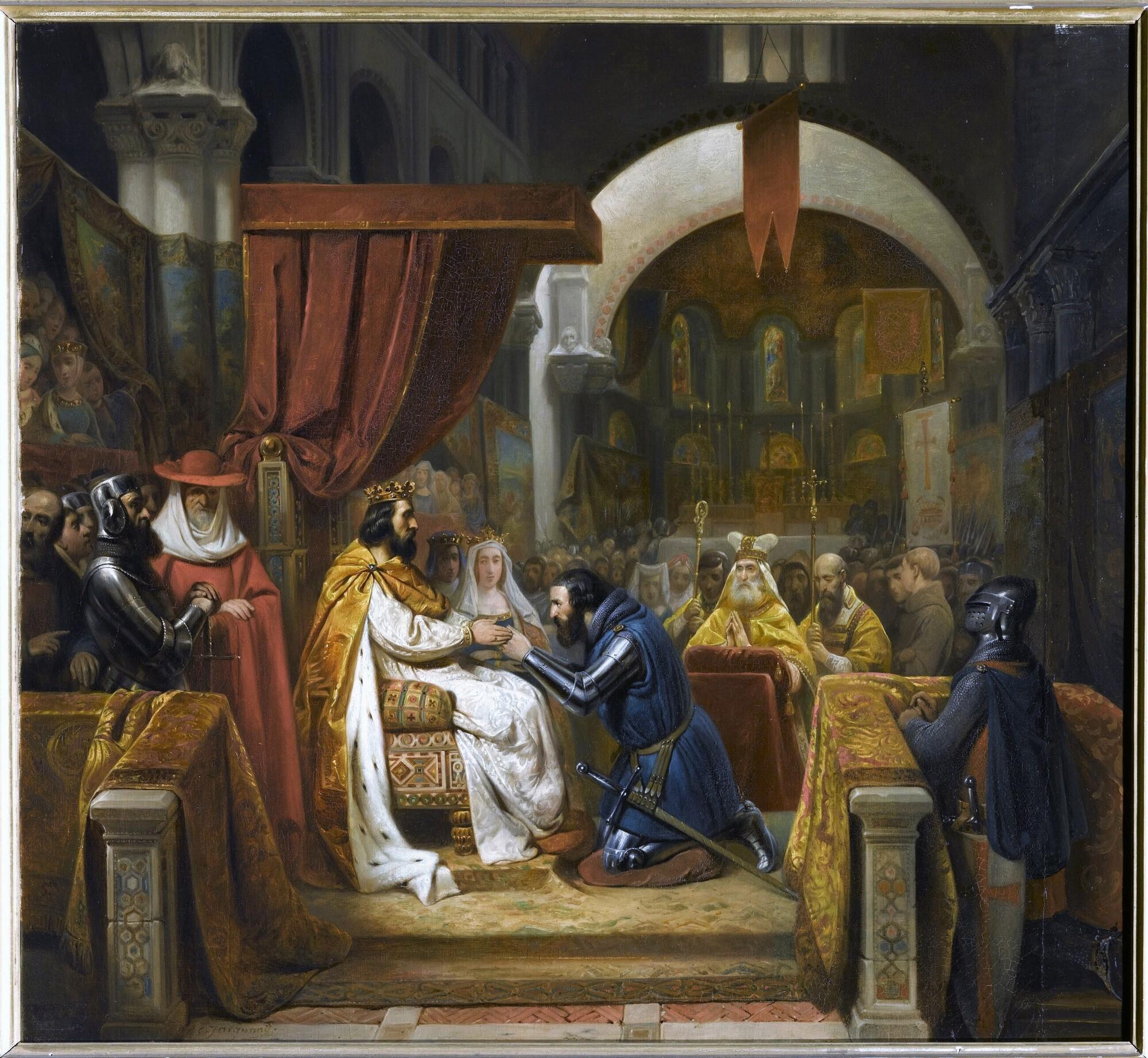 Henri de Bourgogne reçoit l'investiture du comté de Portugal, 1094. Peintre : Claude Jacquand, dit Claudius.