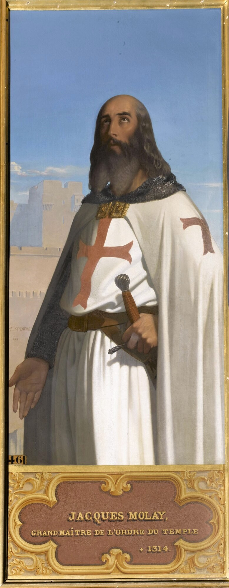 Jacques Molay, dernier grand-maître de l'ordre du Temple (V.1243-1314). Peintre : Eugène-Emmanuel-Amaury Pineu-Duval, dit Amaury-Duval.