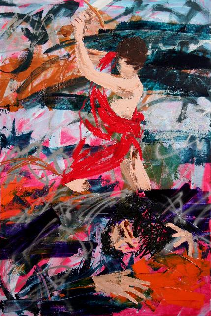 """David et Goliath Peinture aérosol et acrylique sur toile 195 x 130 cm - (Guido Reni, """"David et Goliath"""") © Éric Citerne"""
