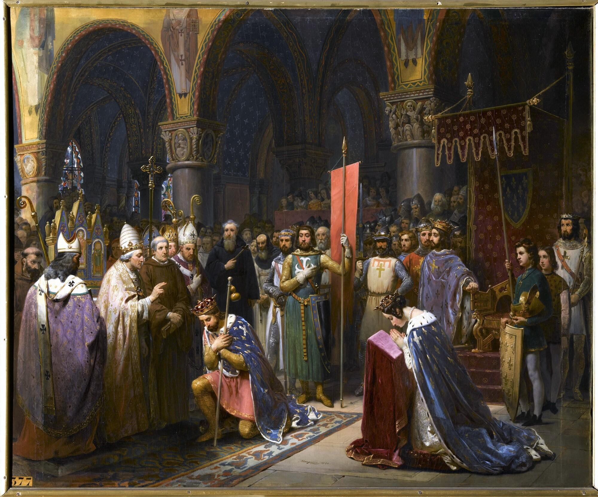 Louis VII prend l'oriflamme à Saint-Denis, 1147. Peintre : Jean-Baptiste Mauzaisse.