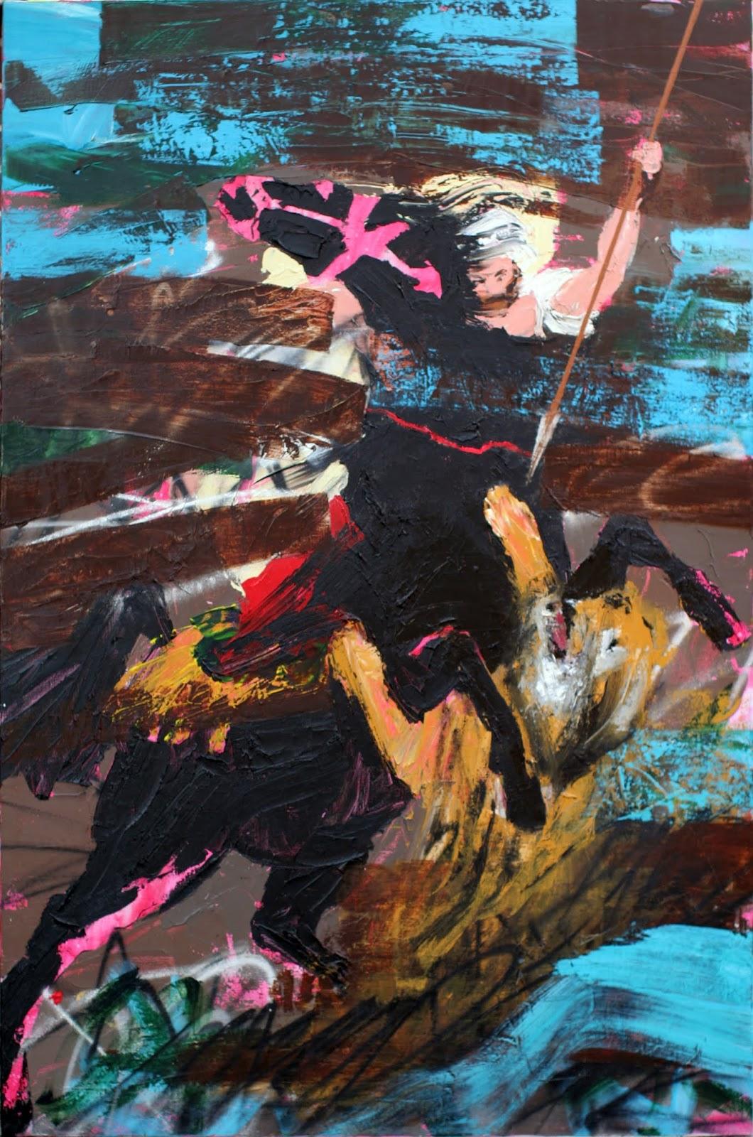 """Chasse au tigre Peinture aérosol et acrylique sur toile 195 x 130 cm - (Eugène Delacroix, """"Chasse au tigre"""") © Éric Citerne"""