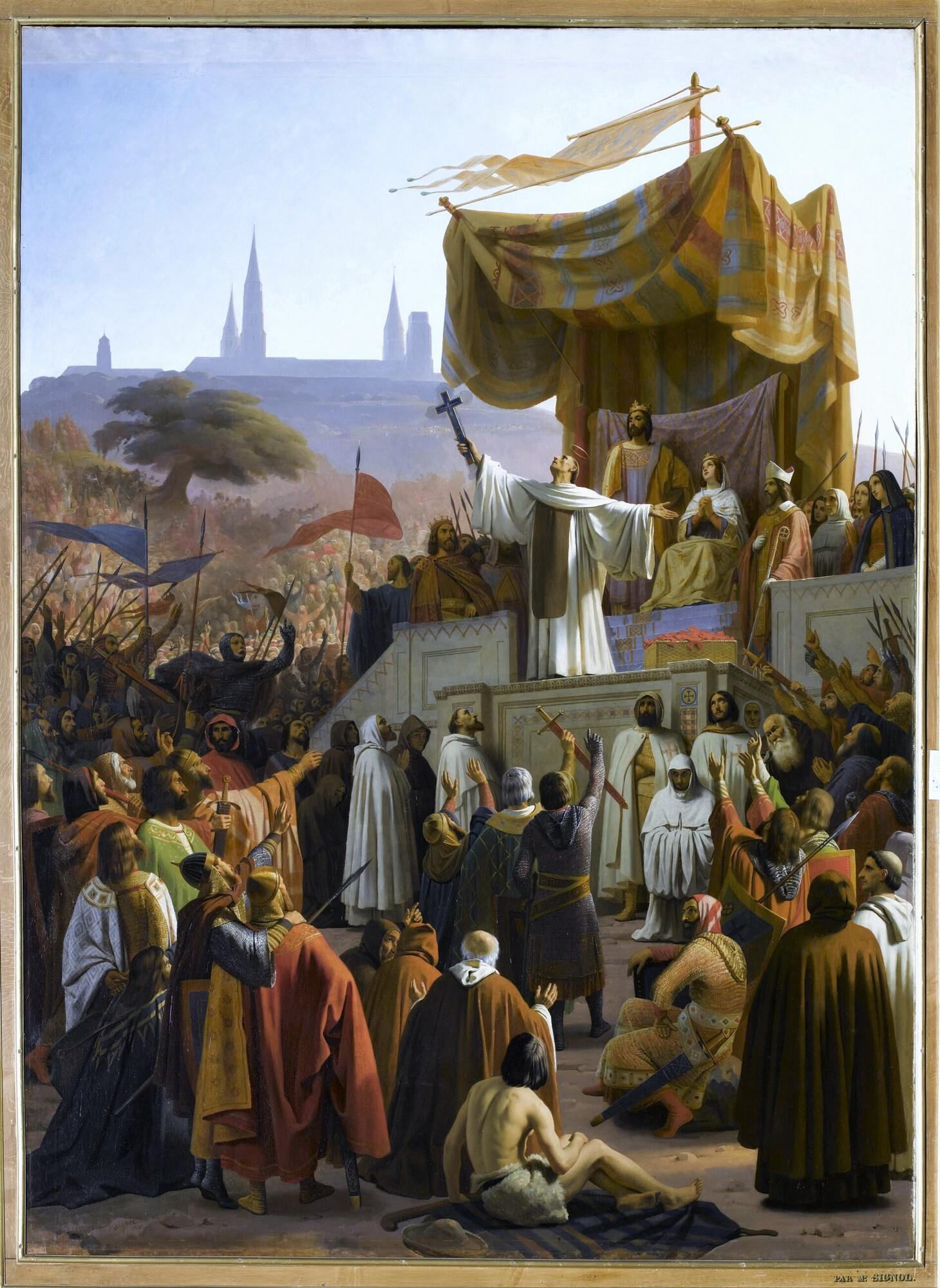Prédication de la deuxième croisade à Vézelay, 31 mars 1146. Peintre : Émile Signol.
