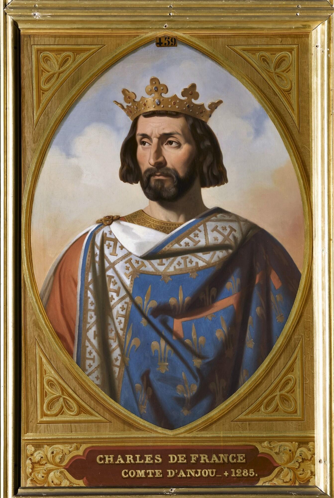 Charles de France, comte d'Anjou, roi de Naples, de Sicile, puis de Jérusalem. Peintre : Henri Decaisne.
