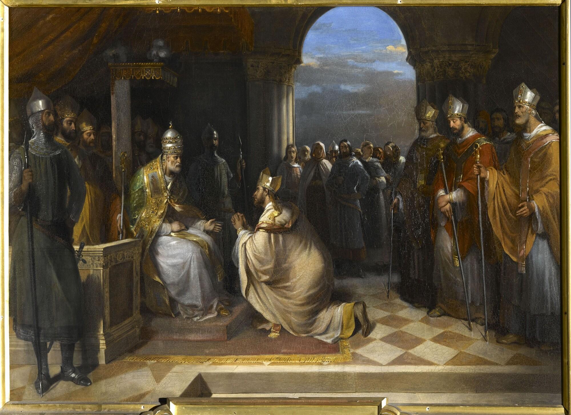 Le pape Eugène III reçoit les ambassadeurs du roi de Jérusalem, 1145. Peintre : Hortense Haudebourt-Lescot.