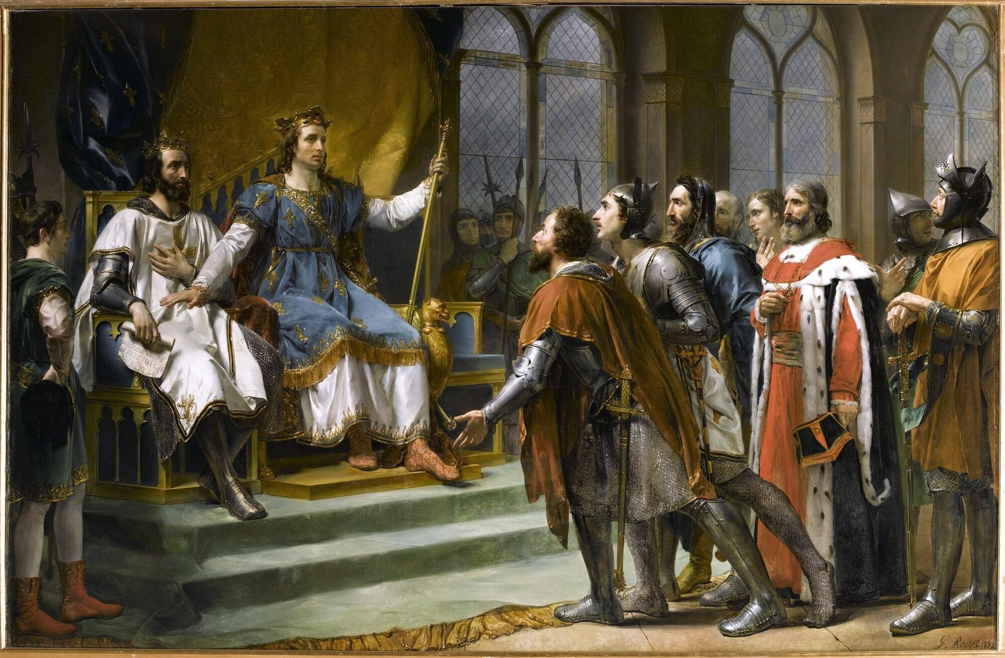 Louis IX (Saint Louis) médiateur entre le roi d'Angleterre et ses barons, 23 janvier 1264. Peintre : Georges Rouget.