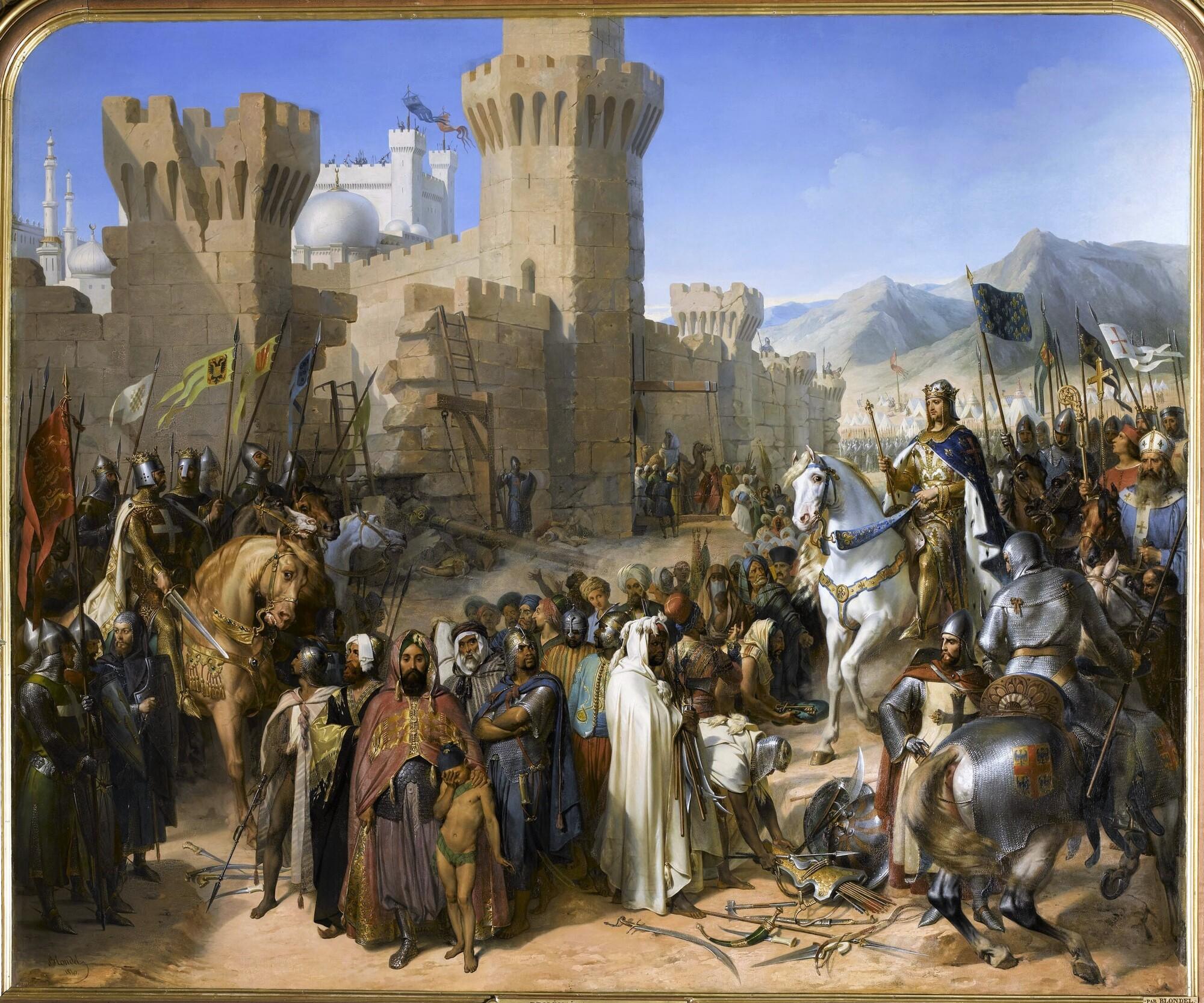 La ville de Ptolémaïs remise à Philippe-Auguste et Richard-Cœur-de-Lion, 13 juillet 1191. Peintre : Merry-Joseph Blondel.