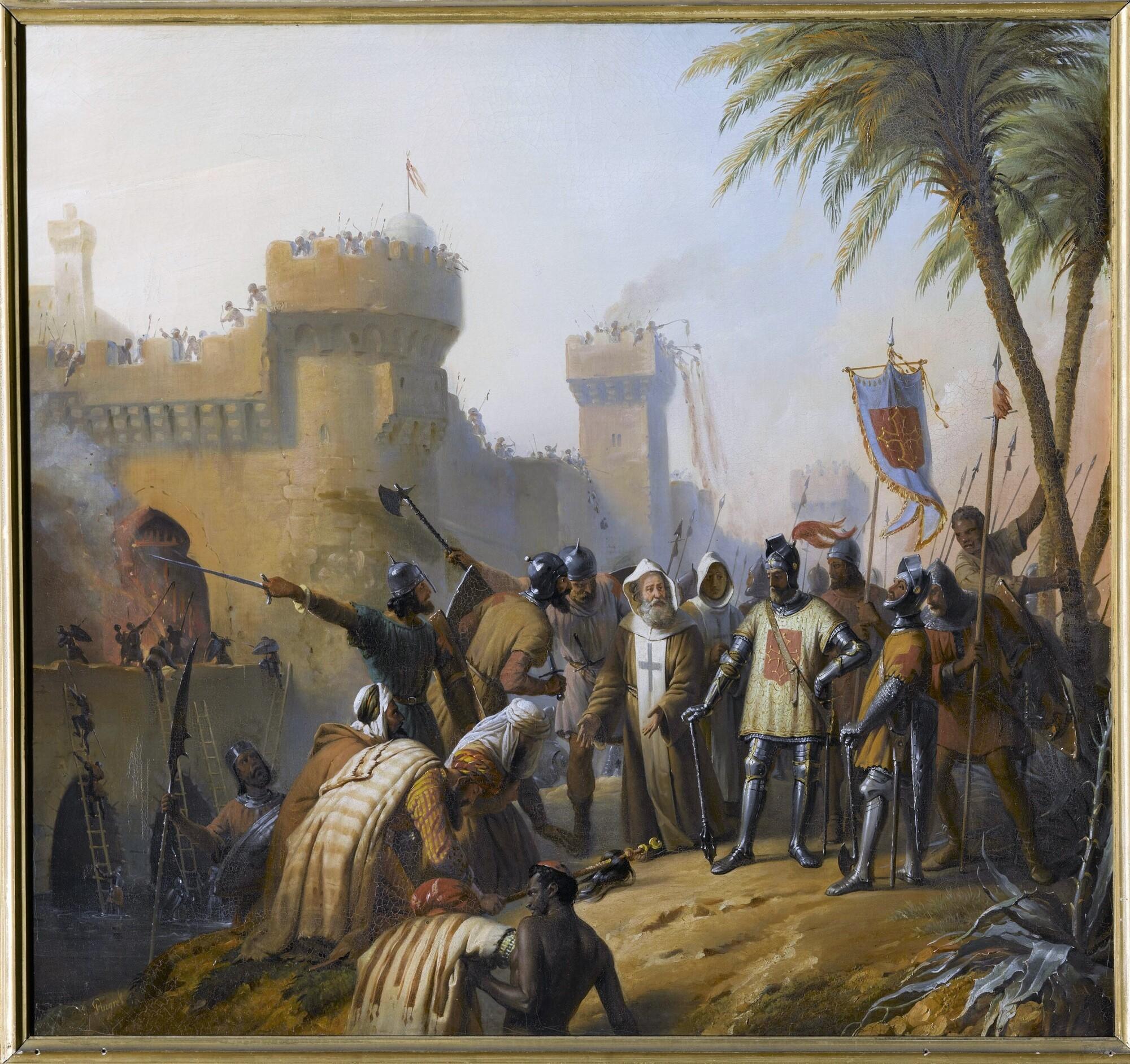 Prise de la ville d'Al-Bara (Albare) dans la province d'Antioche, 1098. Peintre : Edouard Pingret.