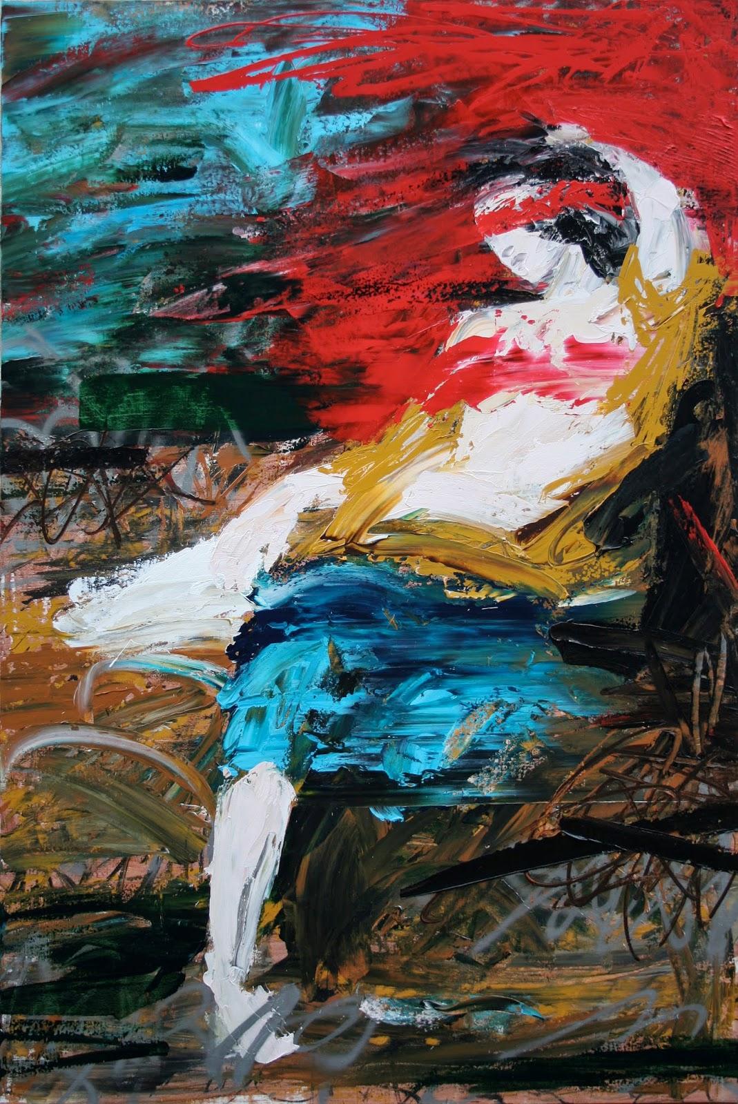 """Fatal Odalisque Peinture aérosol et acrylique sur toile 195 x 130 cm - (Eugène Delacroix, """"Odalisque"""") © Éric Citerne"""