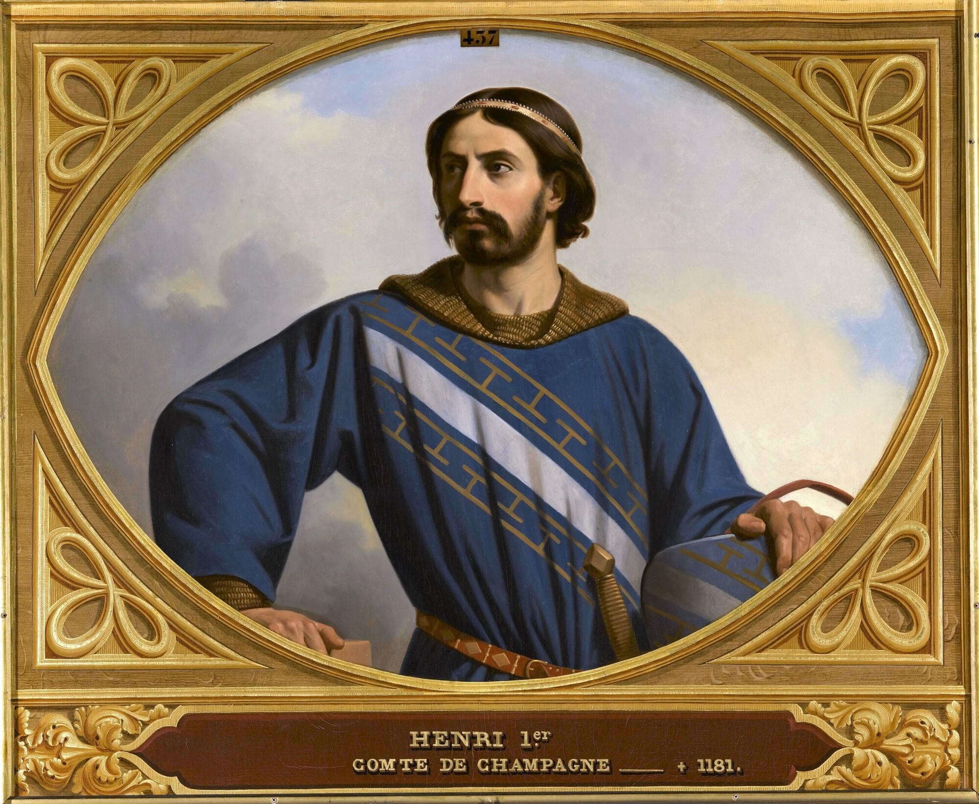 Henri Ier, dit le libéral, comte palatin de Champagne et de Brie (?-1181). Peintre : Henri Decaisne.