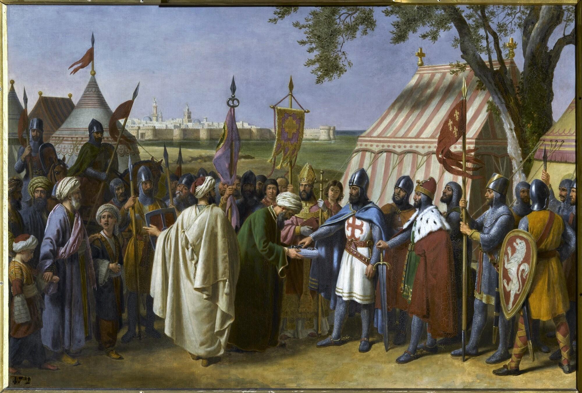 Le comte de Tripoli reçoit la reddition de la ville de Tyr, 1124. Peintre : Alexandre-François Caminade.