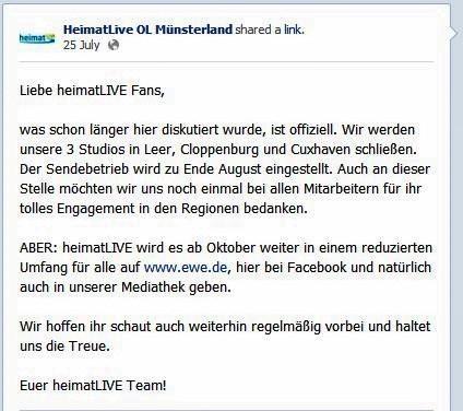 Statusmeldung von heimatLIVE auf Facebook