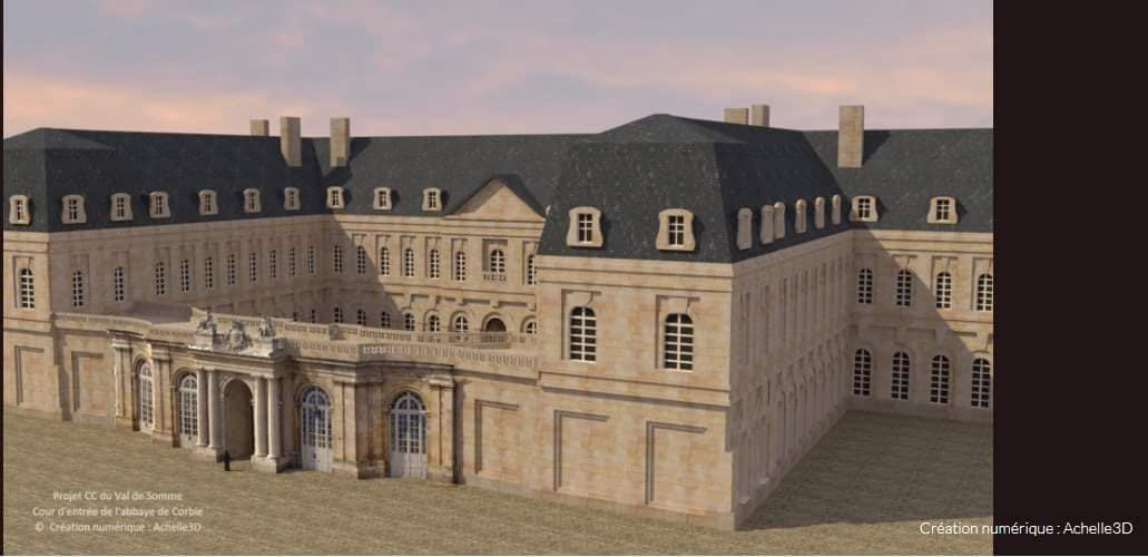 (DR) Office de tourisme du Val de Somme-Abbaye de Corbie 1750-Réalité virtuelle-Chambres d'hôtes-B&B-Guesthouse-Corbie