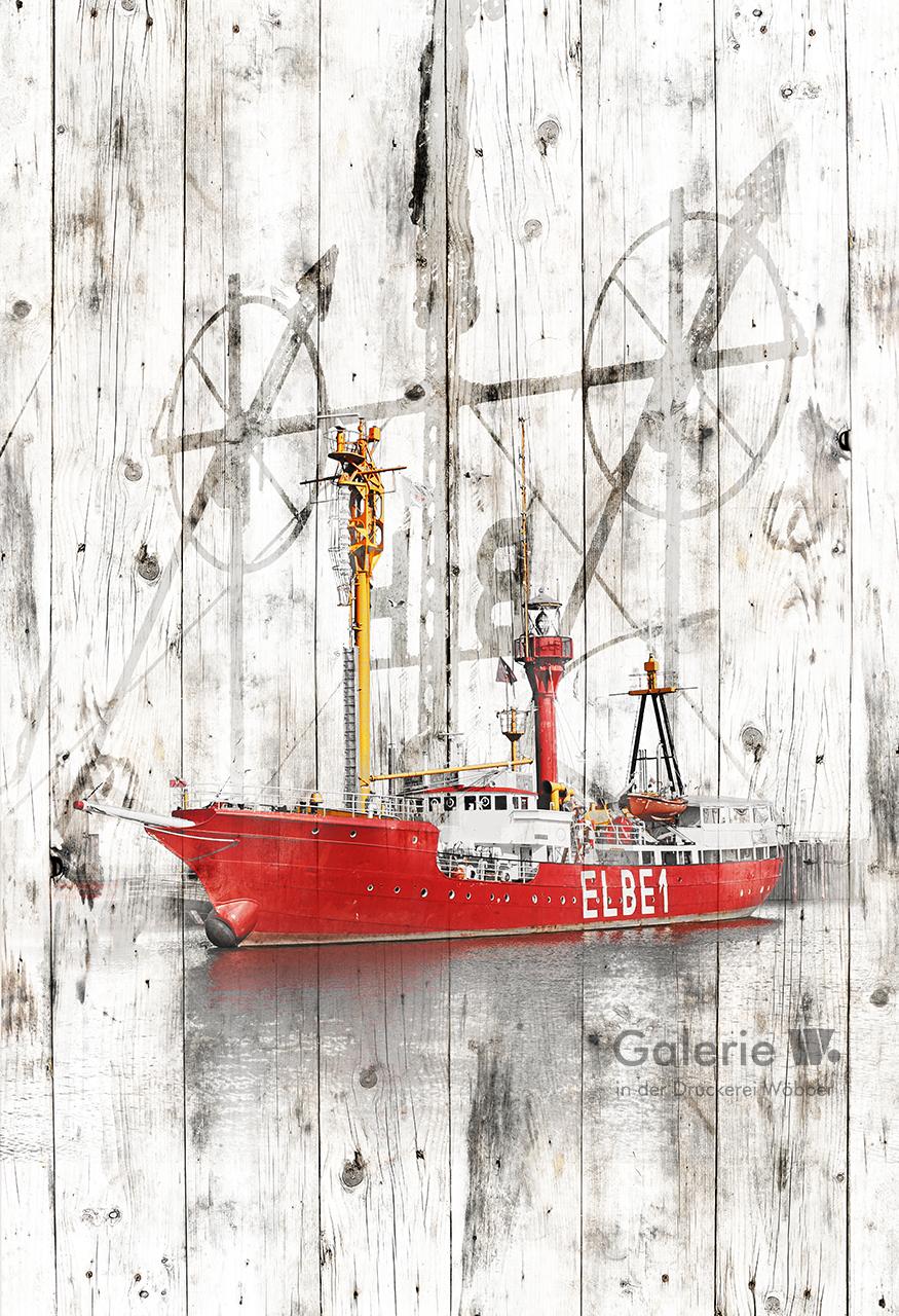 40121 Feuerschiff Elbe 1 in Holzoptik