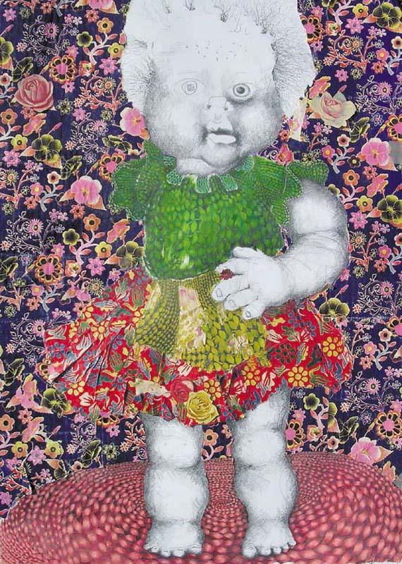 Collage, Zeichnung, Bleistift, Puppe, Maschen, Blumen