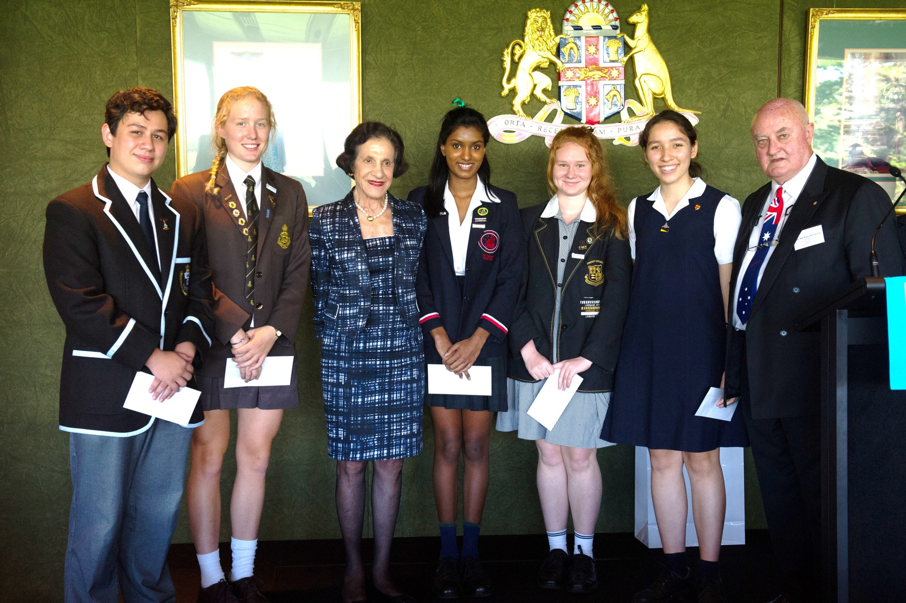 Her Excellency presents the debate students with their prizes. The winning team were the Archdale Representative Schools Team