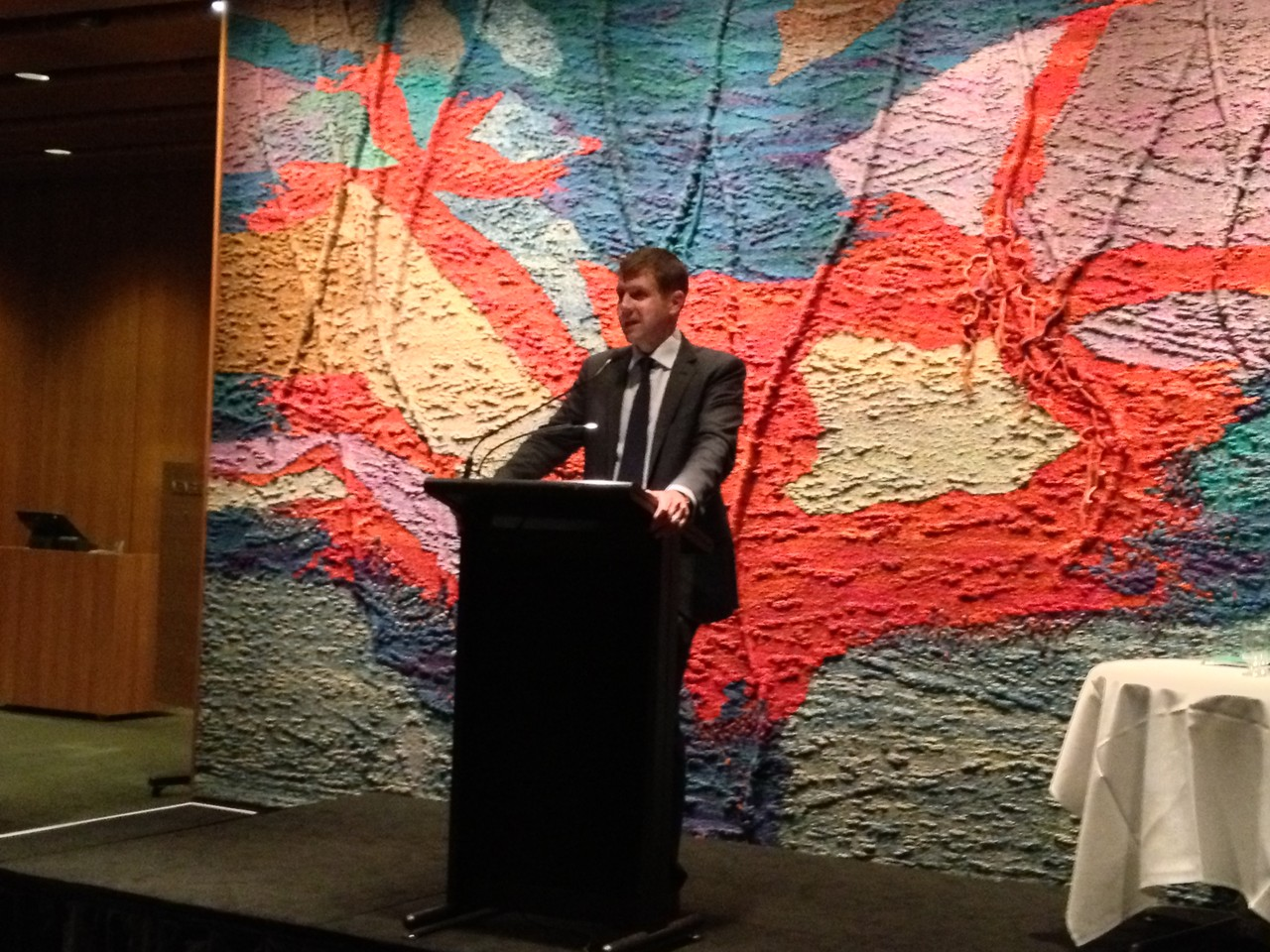The Hon Mike Baird MP address guests at Parliament House