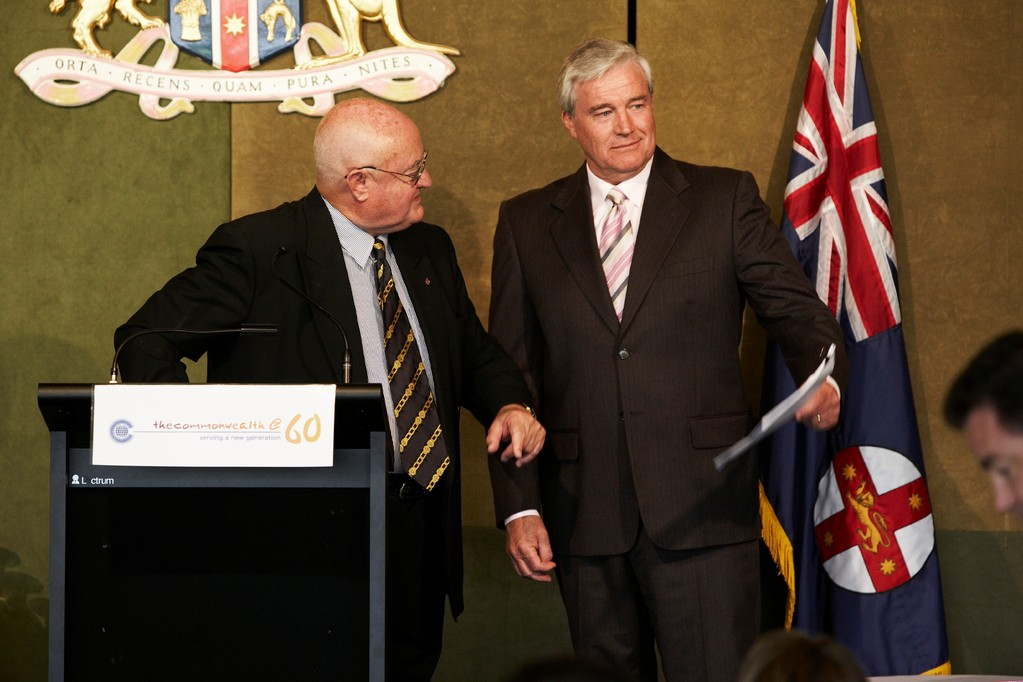 Hon Max Willis (left) and compere Mike Munro working as a team at the lunch