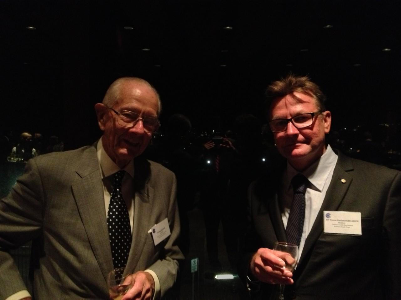 Frank Gartrell (left) with Sir Trevor Garland KBE AM CSI Consul-General Solomon Islands