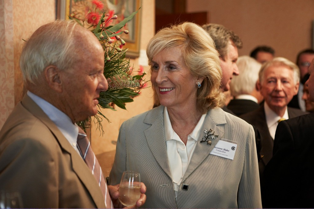 Suzanne Blake (right) chats with a guest at the Commonwealth Day lunch