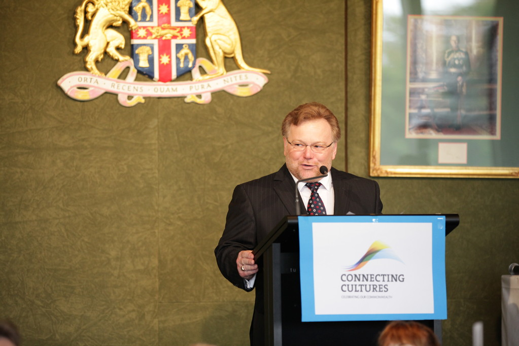 Stephen O'Doherty welcomes guests as compere for Commonwealth Day in 2012