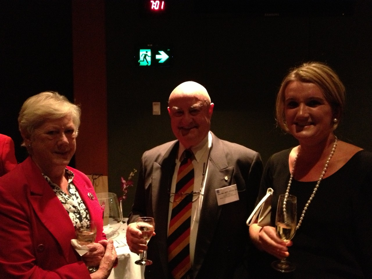 Marilyn Mackenzie (left) with Hon Max Willis, Chair of Australia Youth Trust and guest