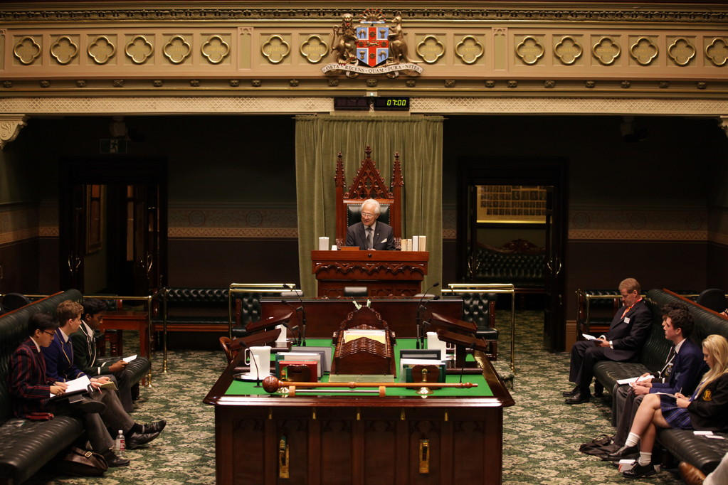 Professor David Flint AM, Chair of the debate in the Speaker's Chair in NSW Parliament House
