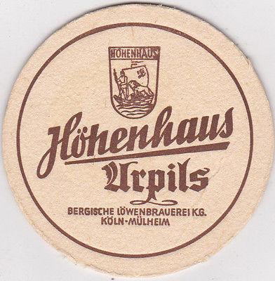 """Alter Bierdeckel des """"Höhenhaus Urpils"""". Gut zu sehen auch das Wappen der Brauerei, welches sich in unserem Vereinslogo bis 1989 wiederfand."""