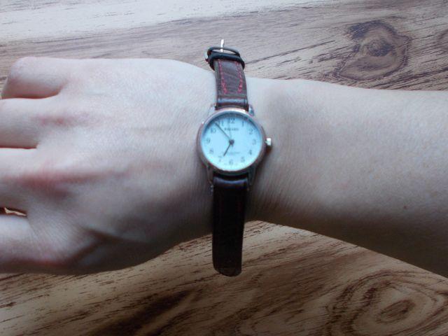 Bracelet montre cuir doublé avec couture, sur mesure