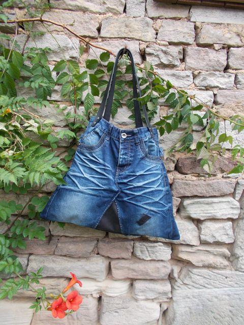 Sac cabas, jean cuir veau et poignée cuir... Recycle'art ...